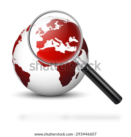 Globe with Magnifying Glass and Red Continents - Europe in Focus - Symbolic Europe in Financial and Economic Crisis - Apocalypse - stock photo