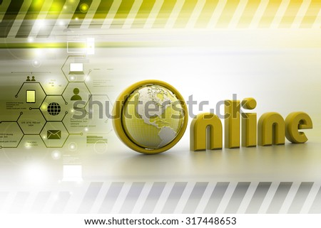 Globe with online lettering in color background - stock photo