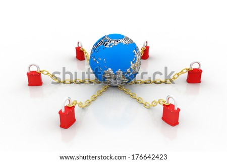 Globe with padlock - stock photo