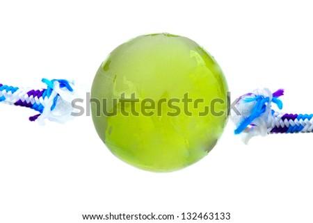 Globe with rope on white background - stock photo