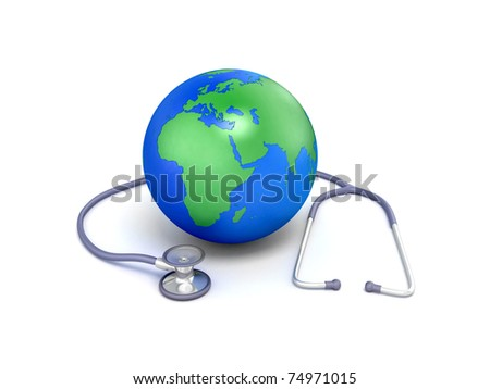 Globe with stethoscope - stock photo