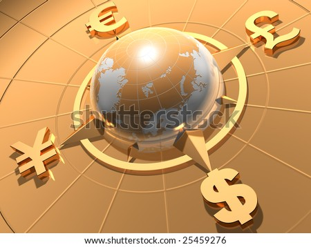 Globe  with symbols of Dollar,  Euro, Pound,  and Yen - stock photo