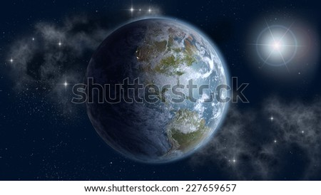 Globe with the North and South American continents in sun rise, on an outer space starry background. Elements of this image furnished by NASA. - stock photo
