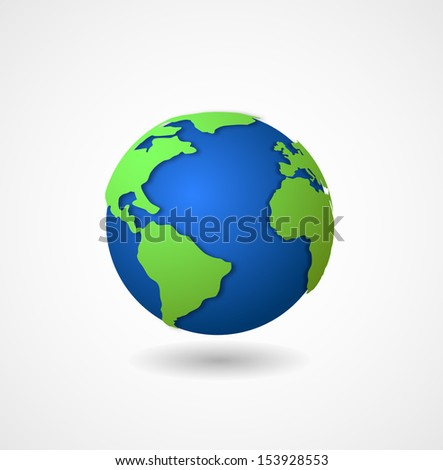 globe world icon 3d - stock photo