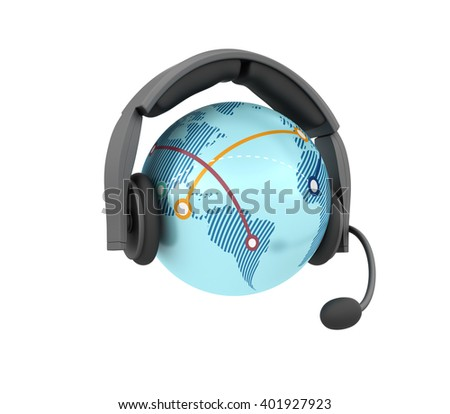 Globe World with Headset on White Background - High Quality 3D Render   - stock photo