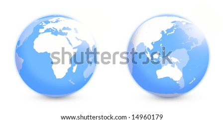 Globes with Africa and APAC regions without coordinate grid over white - stock photo