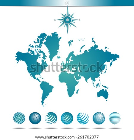 Globes with World Map and Compass - stock photo