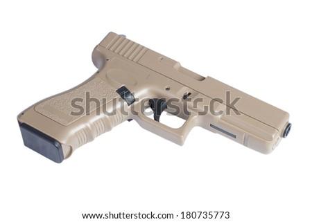 Glock automatic 9mm handgun pistol isolated on a white background - stock photo