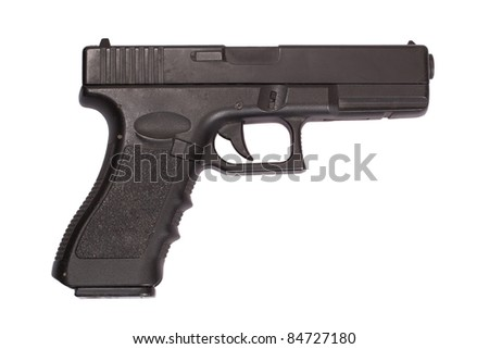 Glock automatic 9mm handgun pistol isolated on a white background - stock photo