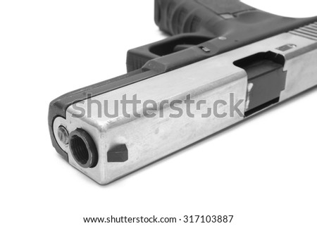 Glock pistol handgun with a white background - stock photo
