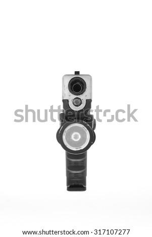 Glock pistol handgun with a white background. - stock photo