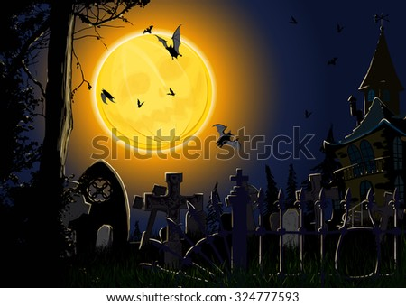Gloomy Halloween card showing the full moon in the form of pumpkin, forest and the cemetery with the lone old house - stock photo