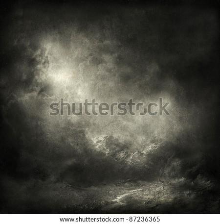 Gloomy landscape - stock photo