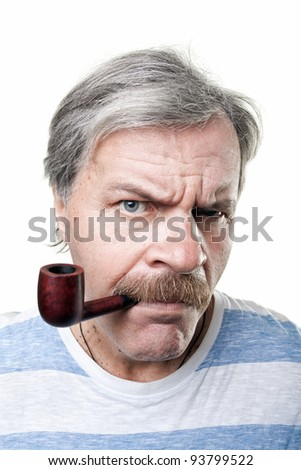 gloomy mature man with smoking pipe isolated on white background - stock photo