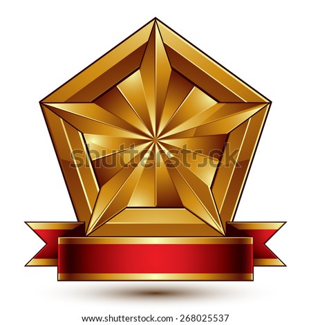glorious glossy design element, luxury 3d pentagonal golden star placed on a decorative blazon, conceptual graphic coat of arms with wavy red ribbon. - stock photo