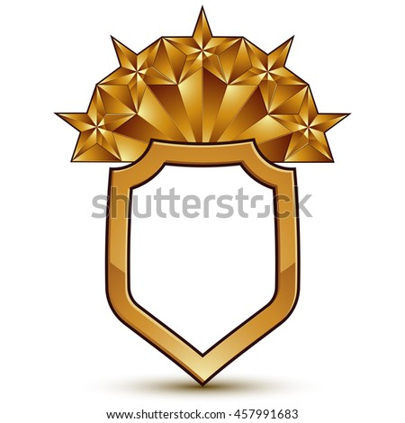 glorious glossy design element with five luxury 3d pentagonal golden stars, conceptual graphic template - stock photo