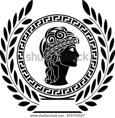 glory of ancient greek woman. first variant. raster version - stock photo