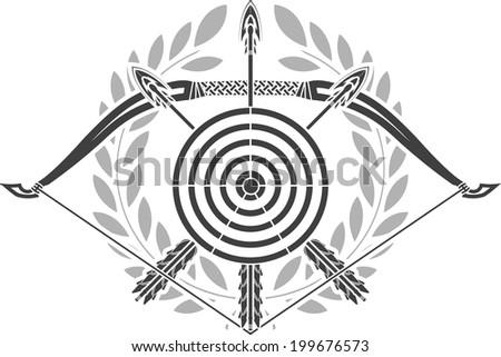 glory of archery. stencil. raster version - stock photo