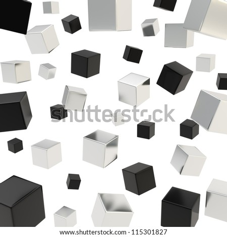 Glossy black and chrome metal cube composition over white background as abstract backdrop - stock photo
