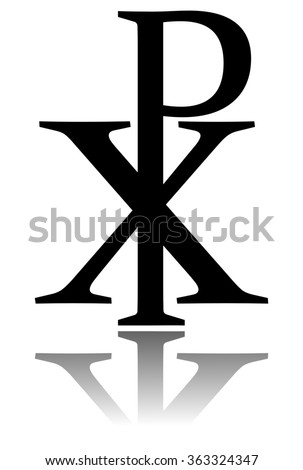 Glossy Chi RHO symbol with drop shadow. Christogram. Labarum - stock photo