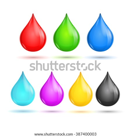 Glossy Drops CMYK and RGB. illustration - stock photo