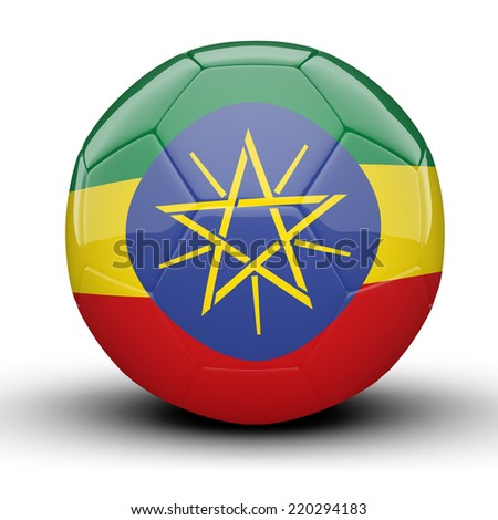 Glossy Ethiopia football ball flag isolated on white background - stock photo