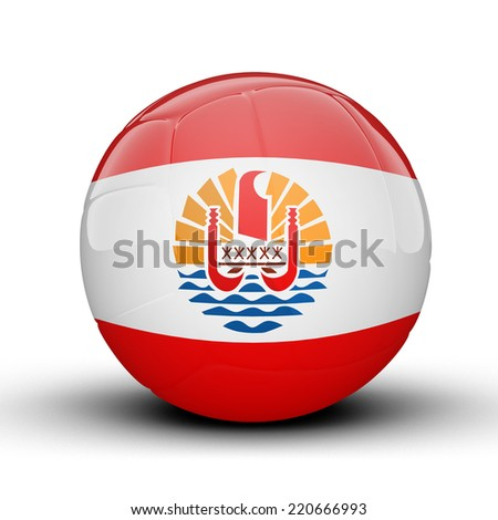 Glossy French Polynesia (France) volleyball ball flag isolated on white background - stock photo