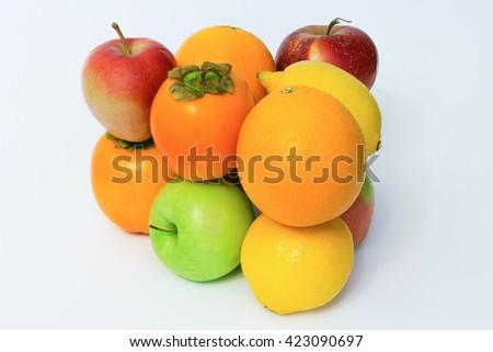 Glossy fruit set isolated on white background. - stock photo