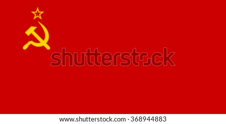Glossy glass of Soviet Union (1980-1991) was the official national flag of the Soviet state from 1923 to 1991.  - stock photo