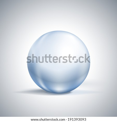 glossy glass sphere isolated on white illustration - stock photo