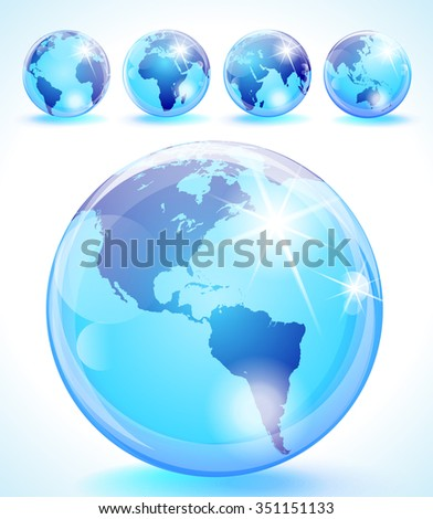 Glossy globes set with 5 different sides of the world - stock photo