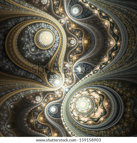 Glossy gold fractal clockwork, digital artwork for creative graphic design - stock photo