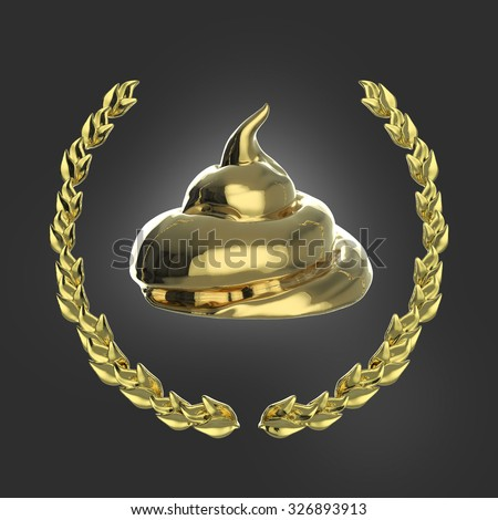 Glossy golden piece of shit surrounded with golden laurel wreath isolated on dark background 3d badge - stock photo