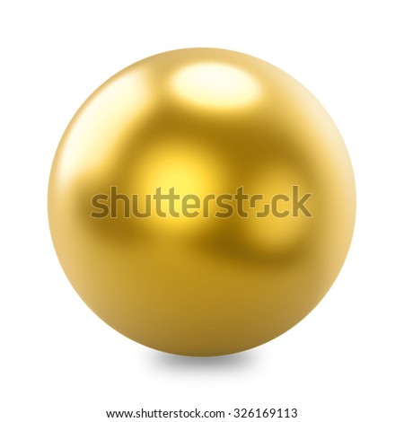 Glossy golden sphere isolated on white background. - stock photo