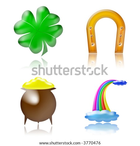glossy good luck charm icons on white background - stock photo