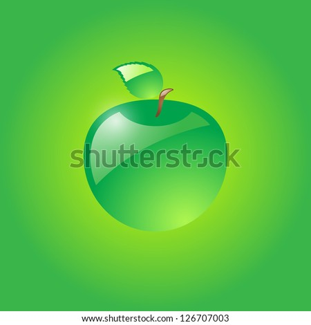 Glossy green apple on green background. Raster version of the loaded vector. - stock photo