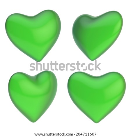 green heart shape isolated over the white background, set of four ...