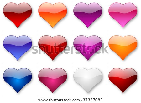 Glossy hearts of love illustration isolated over white background set - stock photo