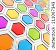 Glossy hexagon segments made of chrome metal and colorful plastic elements as abstract background - stock photo