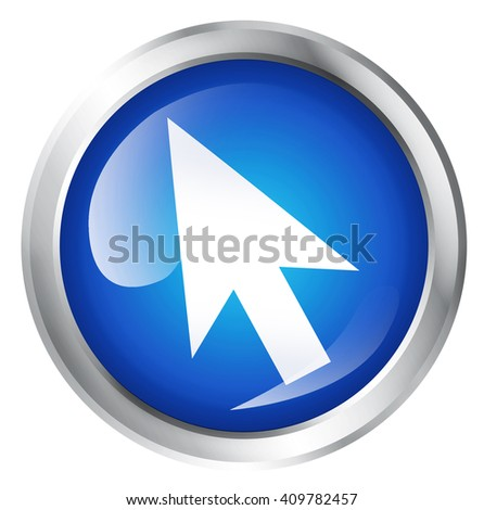 Glossy icon or button with computer mouse symbol. - stock photo