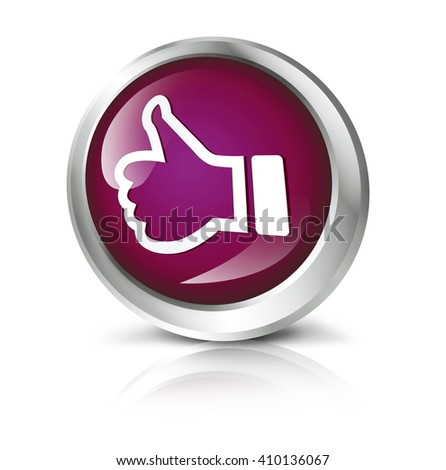 Glossy icon or button with thumbs up symbol. - stock photo