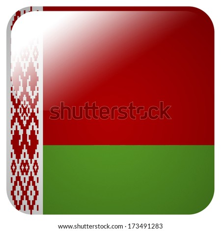 Glossy icon with flag of Belarus - stock photo