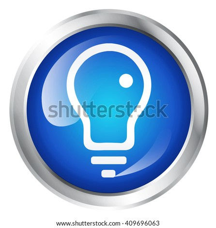 Glossy icon with light bulb symbol, isolated on white - stock photo