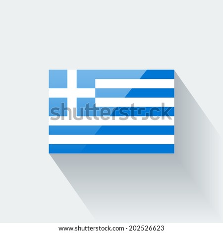 Glossy icon with national flag of Greece. Correct proportions and color scheme. Raster illustration. - stock photo