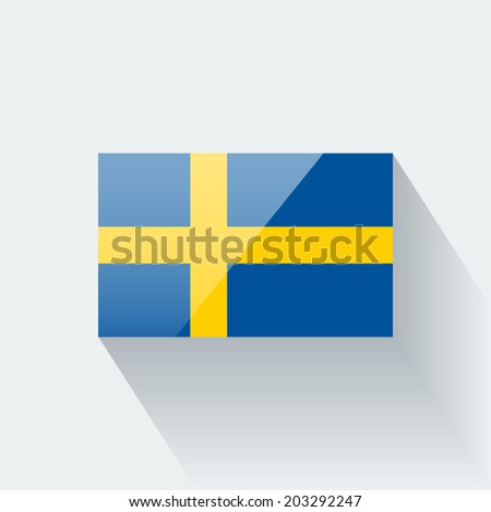 Glossy icon with national flag of Sweden. Correct proportions and color scheme. Raster illustration. - stock photo