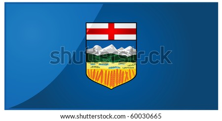 Glossy jpeg illustration of the flag of the province of Alberta, Canada - stock photo