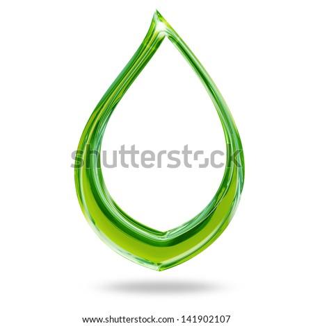 glossy leaf shape isolated on white background - stock photo