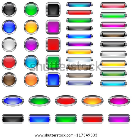 Glossy, metal framed, empty buttons, in six shapes and various colors, very easy editable,raster copy - stock photo