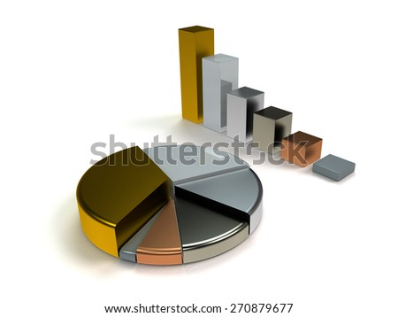 glossy metallic bar graph and pie chart on white background - stock photo