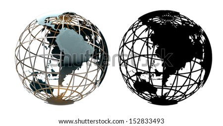 Glossy metallic globe continents on a metal grid facing South America and Pacific Ocean - with corresponding alpha mask - stock photo